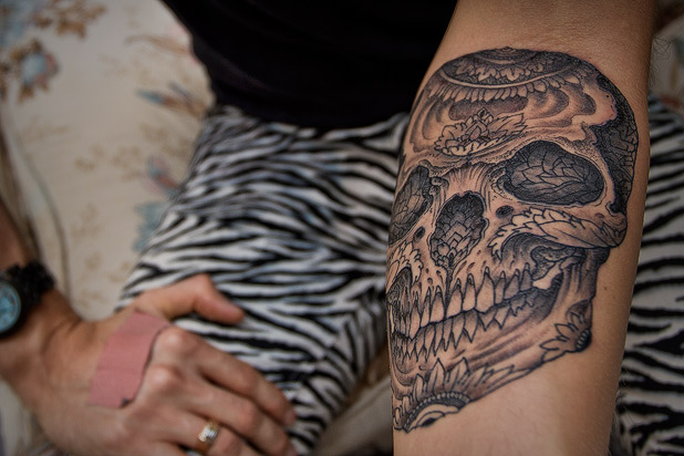 Thomas Hooper Day of the Dead Skull Tattoo on Foxhound's Shane Duquette