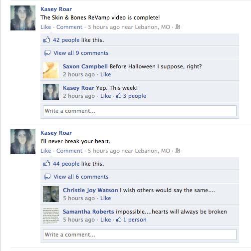Kasey Roar's Facebook page