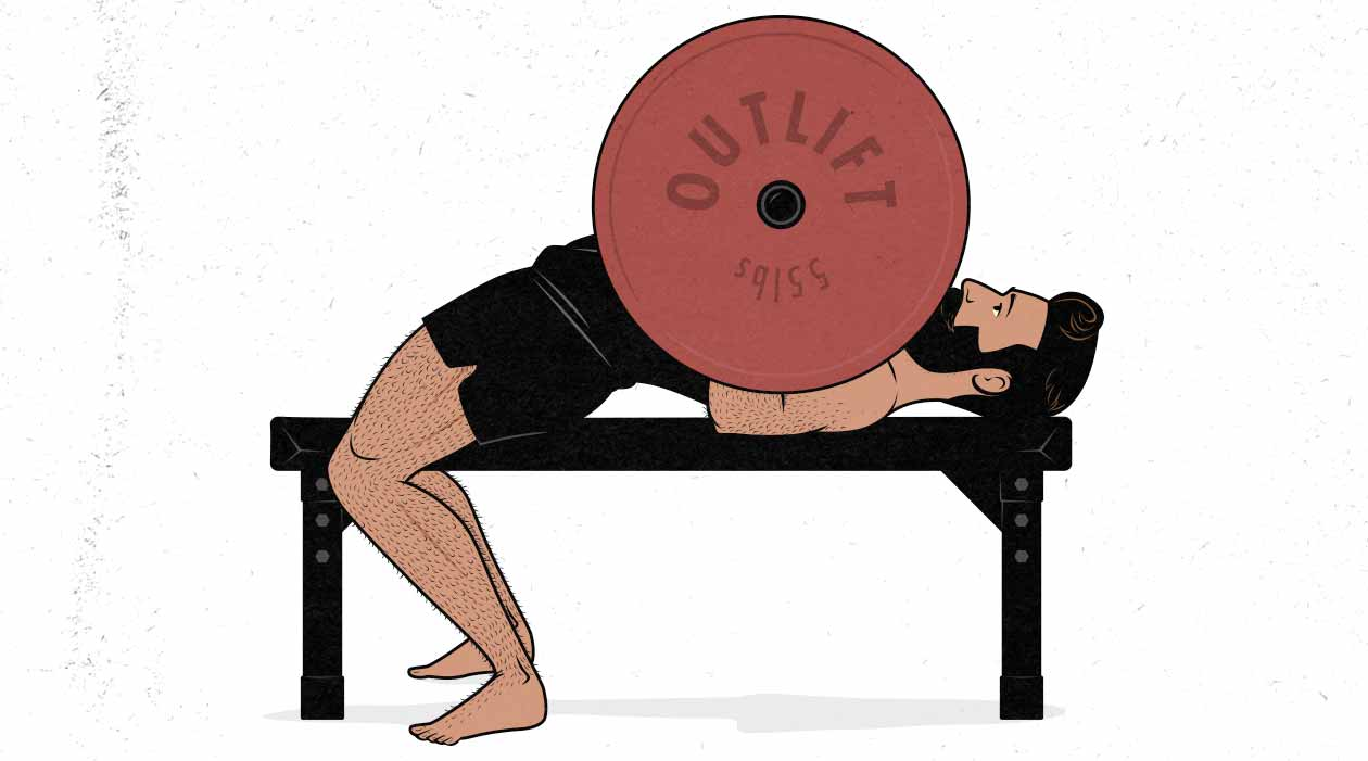 Illustration of a guy doing a barbell bench press.