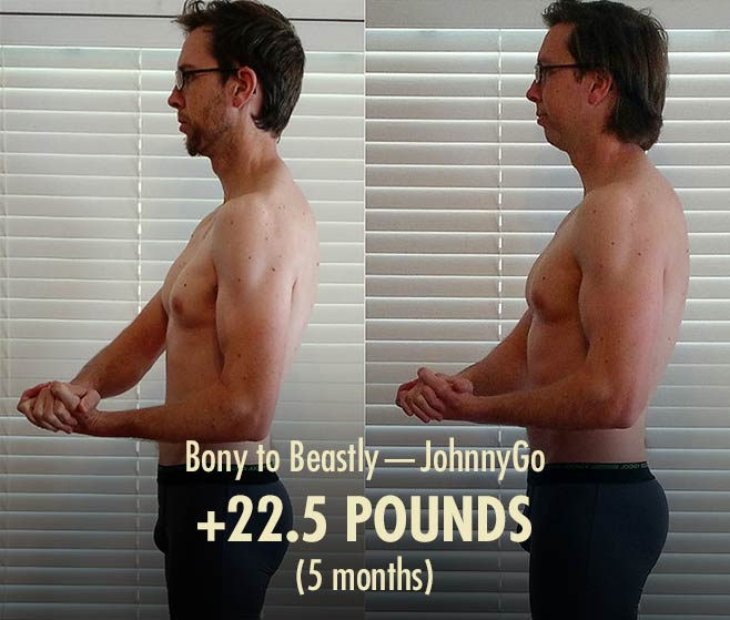 Johnny's intermediate ectomorph bulking transformation (before and after photos).