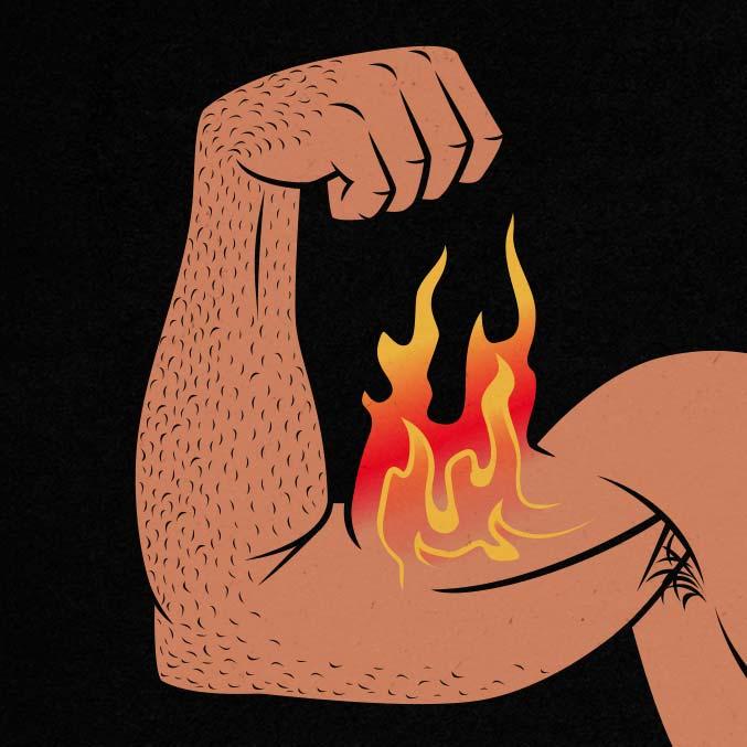 Illustration showing a man building bigger biceps.